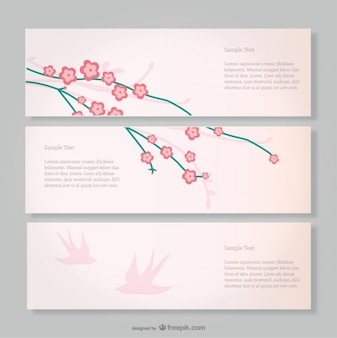 Cherry blossom and pink birds banners