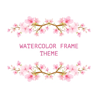 Cherry blossom background frame with hand drawn flowers