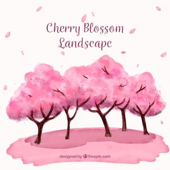 Цвет вишни в акварельном стиле