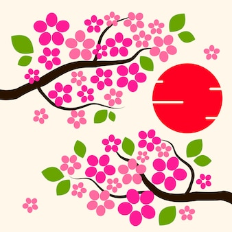 Сакуры фон цветы сакуры розовые на ветке плоский векторные иллюстрации