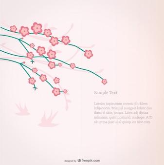 핑크 조류 실루엣 벚꽃 배경