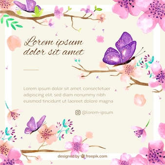 Cherry blossom background with watercolor floral