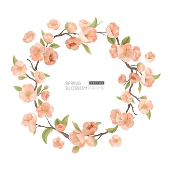 Cherry blossom border, realistic spring flowers, leaves and branch round frame on white background. design element for wedding invitation, greeting card, banner or poster template. vector illustration