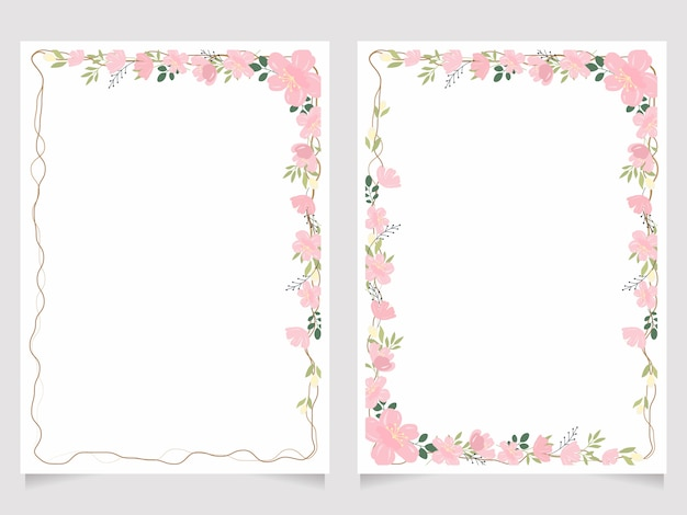 Cherry blossom branch 5x7 invitation card background template collection