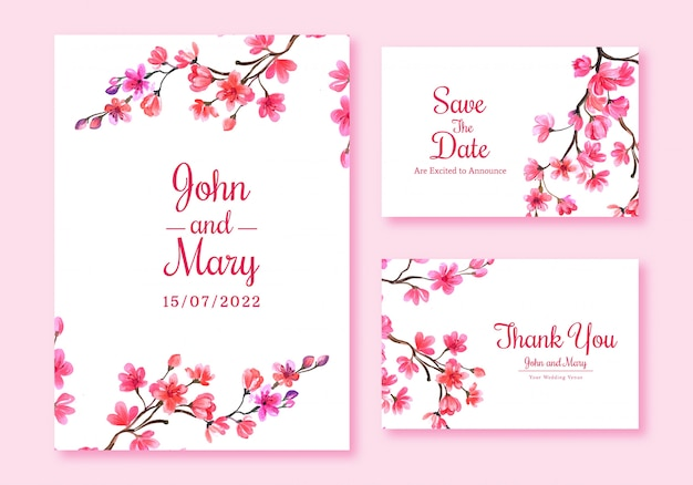 Cherry blossom card set template design