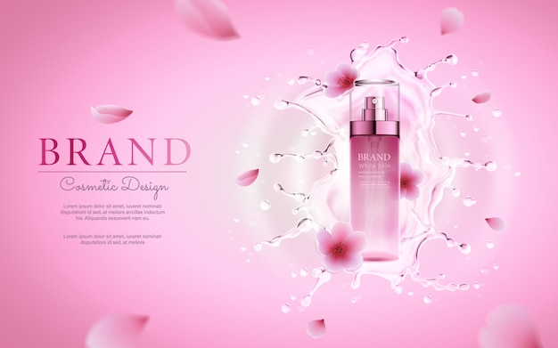 Cherry blossom cosmetic with water splashing for promotional pink poster template