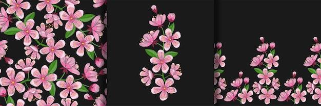 桜の刺繡プリントのシームレスなパターンとボーダーセット