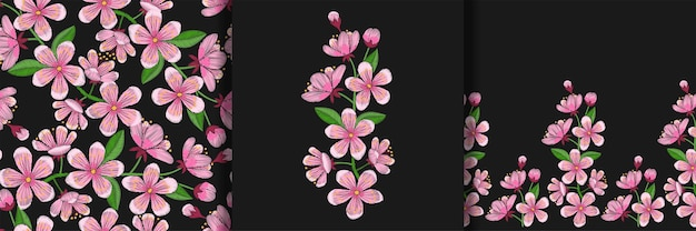 Cherry blossom embroidery print seamless pattern and border set