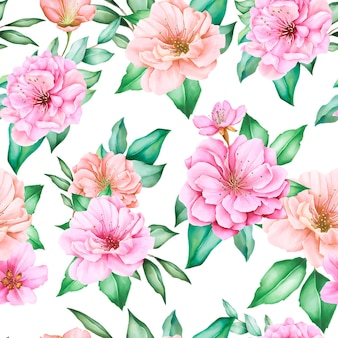 Cherry blossom floral design seamless pattern