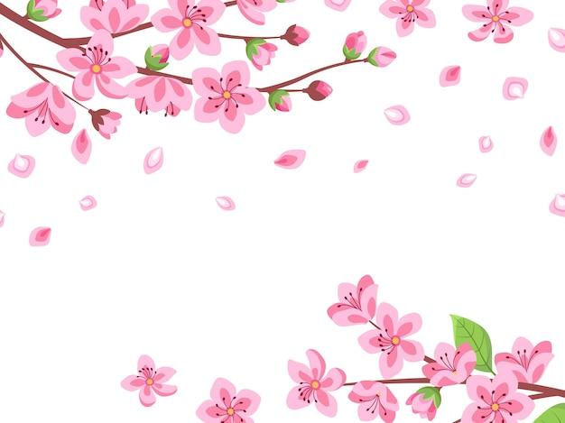 桜の花。花の桜の枝。春の日本ロマンチックな空飛ぶ花びら。ピンクの花の花の庭、漫画の東洋の壁。イラストジャパンフローラル、さくら桜ポスター