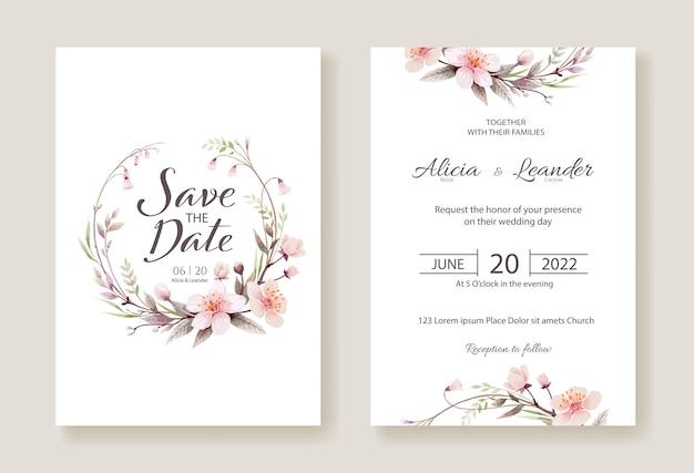 桜の花の結婚式の招待状、日付カードのテンプレートを保存します。