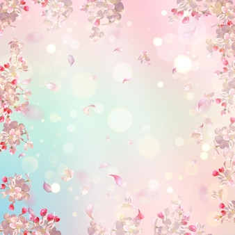 Cherry blossom and flying petals