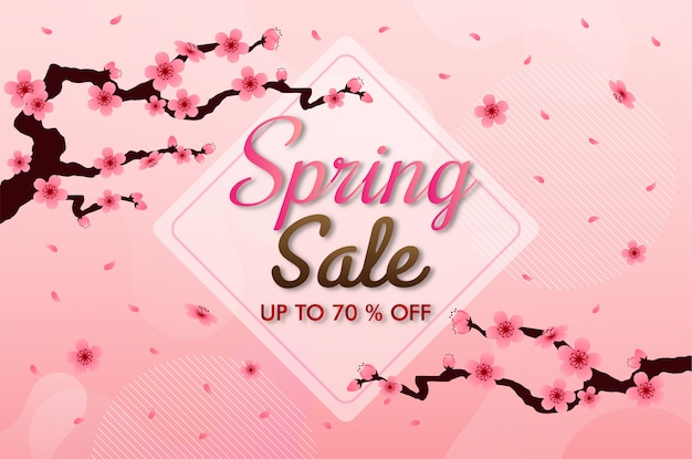 Cherry blossom frame. pink sakura background, spring sale banner