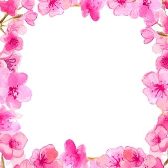 Рамка сакуры. акварель розовые цветы. векторный фон природы.