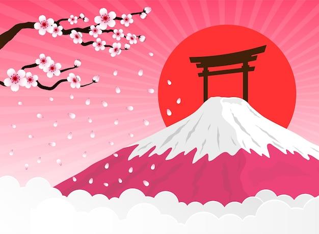 Cherry blossom and fuji mountain Premium Vector