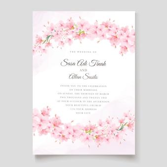 桜の招待カードテンプレート