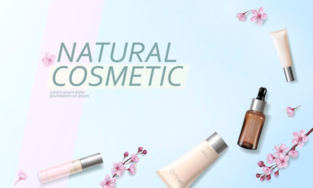 Cherry blossom organic cosmetic ad template. skincare essence vitamin creme pink spring flower