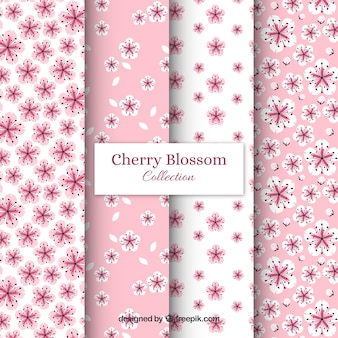 Cherry blossom patterns collection in flat style
