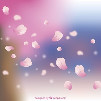 Cherry blossom petals background in realistic style