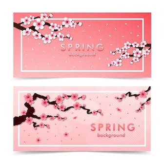 Cherry blossom. pink sakura banner set