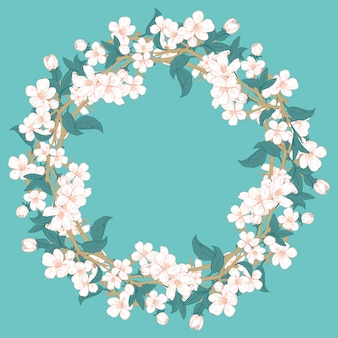 Cherry blossom round pattern on blue turquoise background.