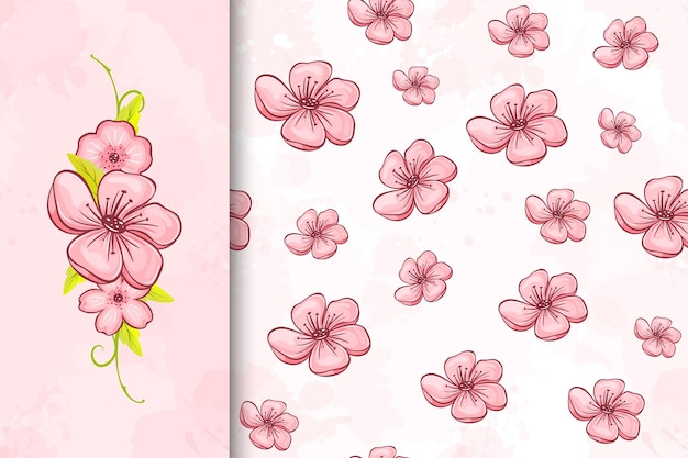 Cherry blossom seamless pattern and flower illustration