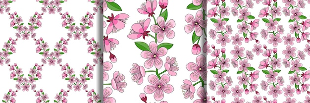 Cherry blossom seamless patterns set floral wallpapers nature textile and home prints