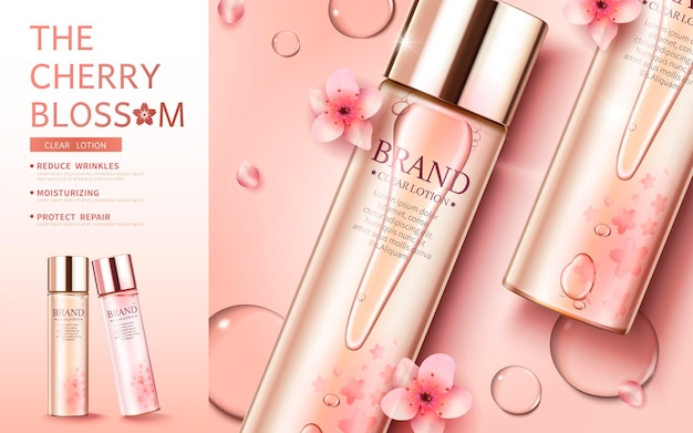 Cherry blossom skin care banner with flat lay product and graceful petals in 3d style