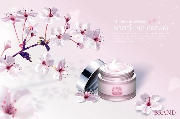 연한 분홍색 배경에 숨막히는 사쿠라 꽃이있는 벚꽃 스킨 케어 제품 광고