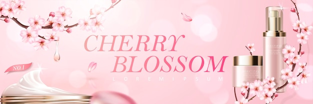 Cherry blossom skincare products with romantic flowers