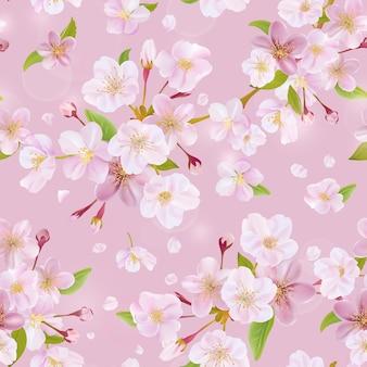 벚꽃 봄 배경 완벽 한 패턴