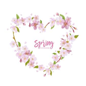 꽃 화 환과 벚꽃 봄 배경