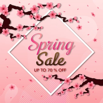Cherry blossom vector frame. pink sakura background, sale banner