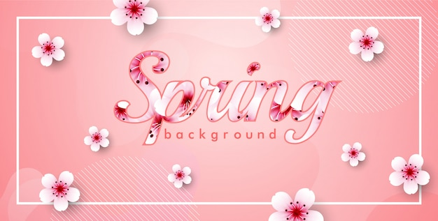 Cherry blossom vector frame. pink sakura spring background
