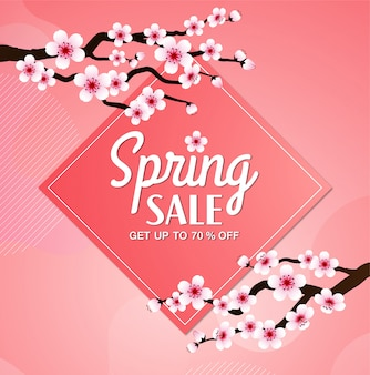 Cherry blossom vector frame. pink sakura spring sale banner background