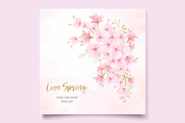 Cherry blossom watercolor invitation card