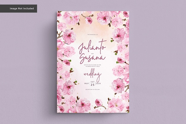Cherry blossom watercolor wedding card