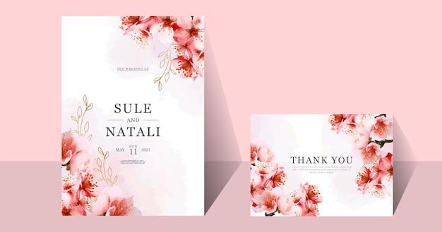 Акварельная свадебная открытка сакуры