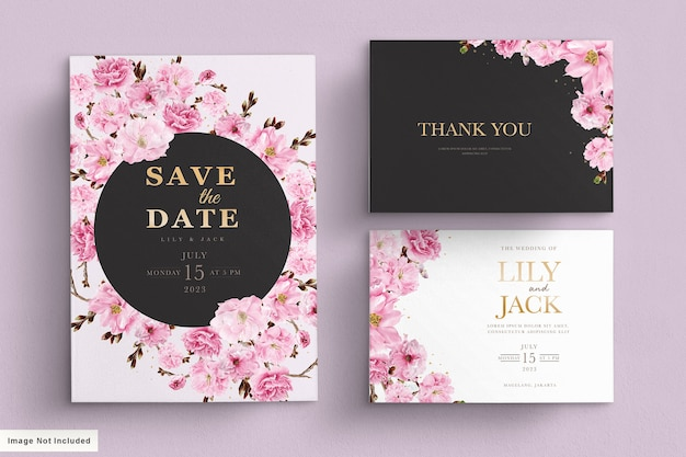 Cherry blossom wedding invitation template
