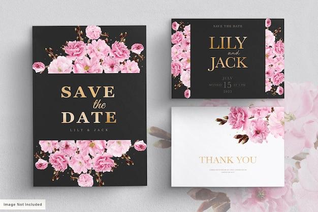 Modello di invito a nozze con fiori di ciliegio