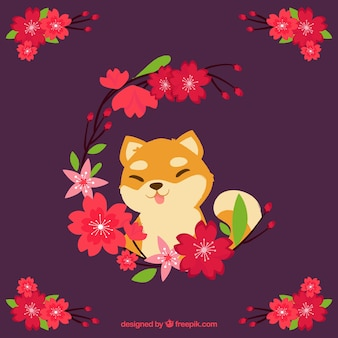 Cherry blossom with cute fox  background in flat style