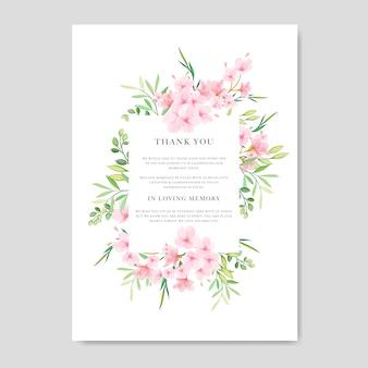 Шаблон приглашения на свадьбу с цветочным дизайном cherry blossom