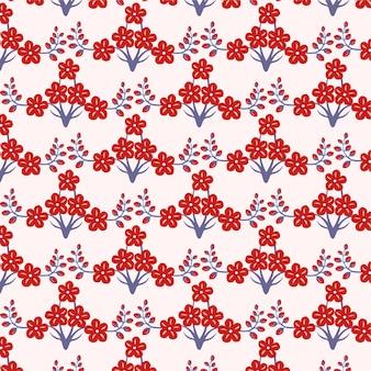桜咲く赤い花のシームレスなパターンデザイン