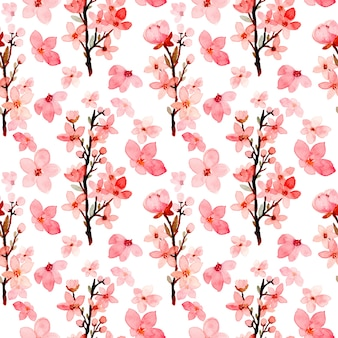 Cherry blossoms seamless pattern watercolor