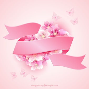 Cherry blossoms with a pink ribbon
