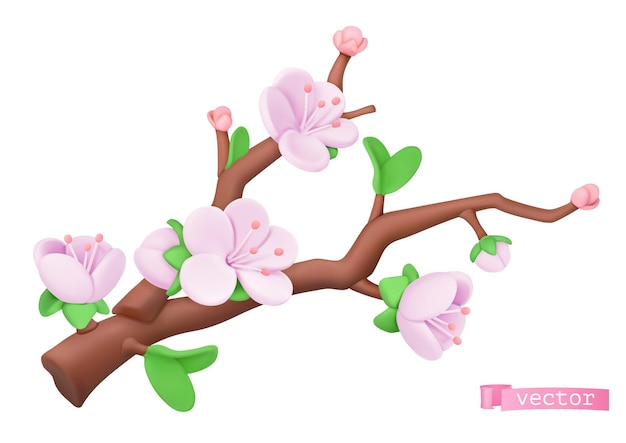 Cherry branch with pink flowers in 3d