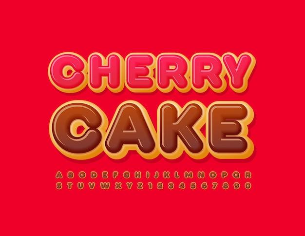 체리 케이크 초콜릿 유약 글꼴 맛있는 도넛 알파벳 문자와 숫자