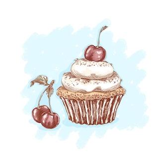 Вишневый торт со сливками и вишневыми ягодами. сладости и десерты. эскизный рисунок руки