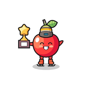 Cherry cartoon as an ice skating player hold winner trophy , cute style design for t shirt, sticker, logo element