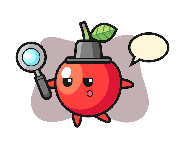 Cherry cartoon character searching with a magnifying glass, cute style design